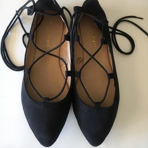 Madden Girl lace up suede flats